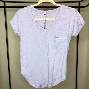 Striped Lavender V-Neck Tee